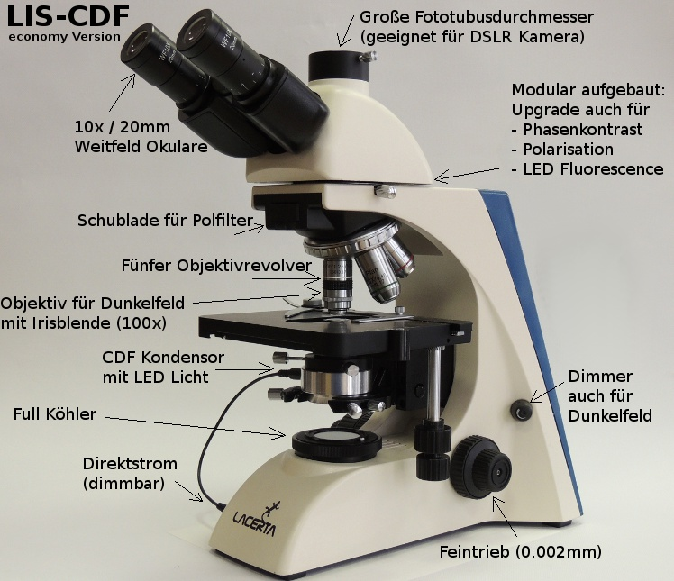 Lacerta LIS Microscope with Cardioid Darkfield-Upgrade